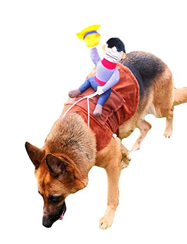 Novelty Cowboy Rider Knight Pet Dog Costume Riding Horse Shirt Clothes Party Cosplay Dress Up Prop (for Large Dog Golden Labrador Retriever Rottweiler) (Labrador Costumes)