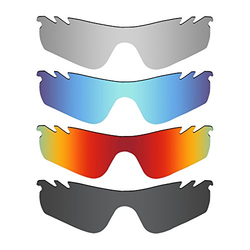 Mryok 4 Pair Polarized Replacement Lenses for Oakley RadarLock Path Vented Sunglass - Stealth Black/Fire Red/Ice Blue/Silver - Radarlock Polarized