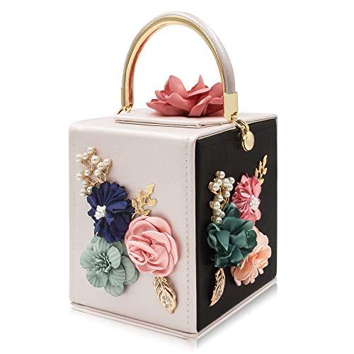 Milisente Evening Clutch Bag for Women Floral Square Box Evening Bags Crossbody Shoulder handBags Flower Wedding Clutch Purse (Black Beige)