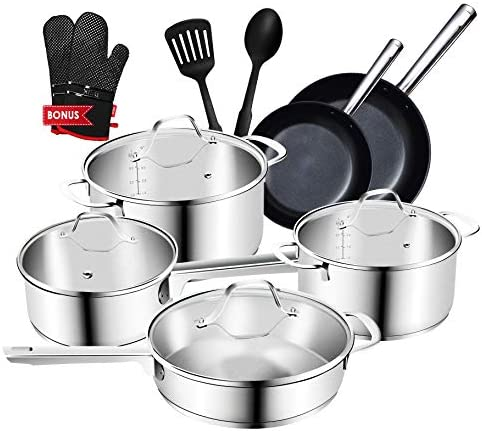 Stainless Steel Pots and Pans, Nonstick Cookware Set, 14-Piece Pans and Pots Set with a Bonus of Oven Mitts