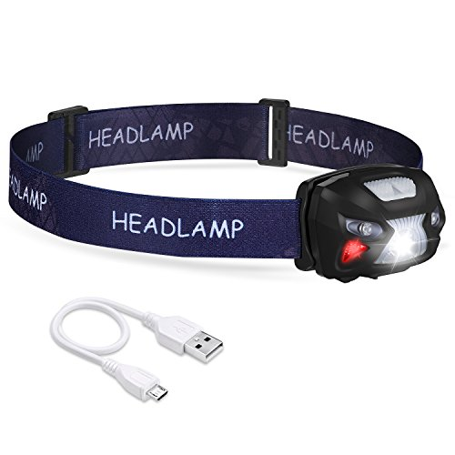 AIYYAO LED Headlamp Flashlight Rechargeable Headlights, USB Cable Included headlamps Red Light Body motion sensor 6 Modes for Running Jogging Hiking