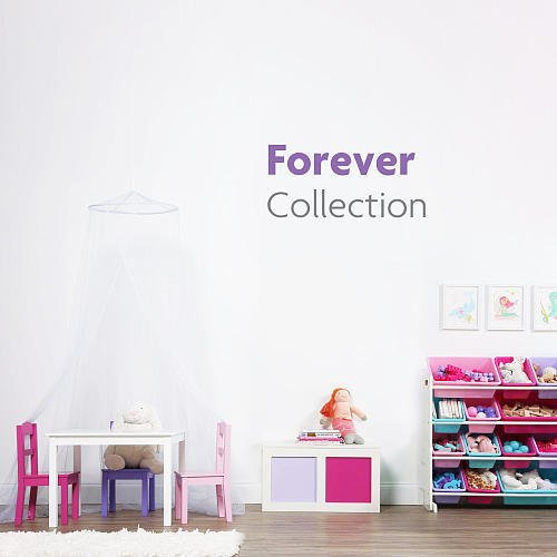 41f ba0izaL - TOT Tutors WO574 Forever Collection Wood Toy Storage Organizer, X-Large, White/Pink&Purple