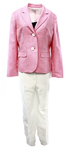 Le Suit Womens The Hamptons 2PC Striped Pant Suit Pink 6