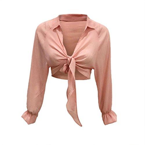Manica Cima Rosa Camicetta Petal Cime Lunga Lqqstore Maglietta donna Corta Unita Sciolto Tinta Breve Blusa A Lunga Risvolto Sexy Camicia Chiffon qpT7RwE