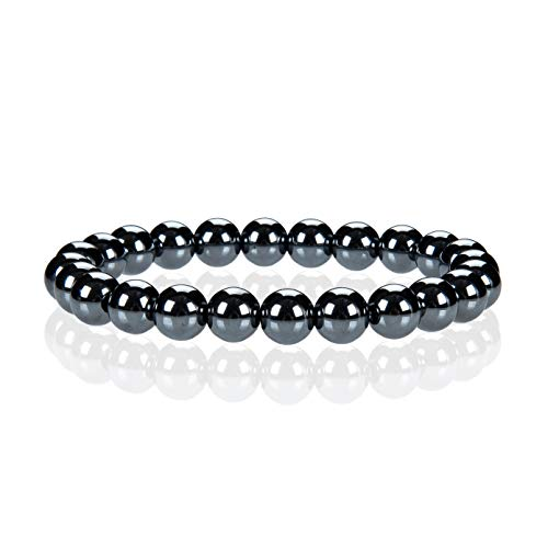 - Cherry Tree Collection Gemstone Beaded Stretch Bracelet 8mm Round Beads | Large (Hematite)