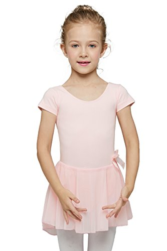 Mdnmd Girls' Skirted Short Sleeve Leotard