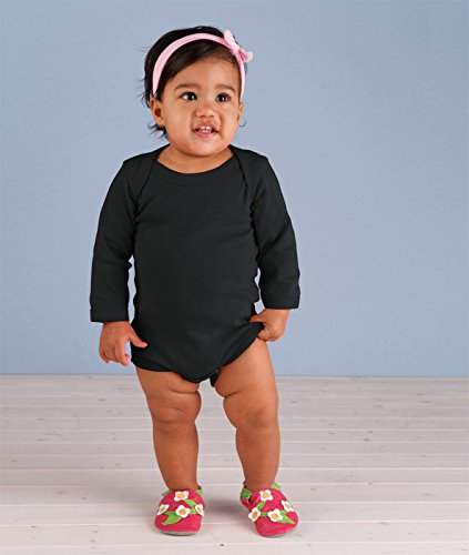 Rabbit Skins Drop Ship Infant Baby Rib Lap Shoulder Long Sleeve Creeper, 12MOS, BLACK (Shoulder Drop Fitted)
