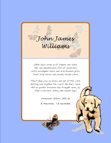 Framed Birth Announcement with Puppy