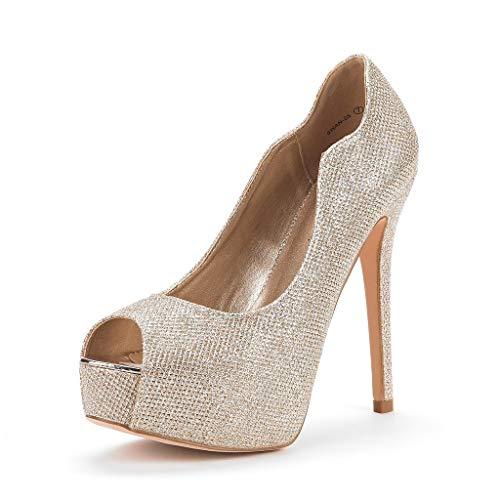DREAM PAIRS Women's Swan-25 Gold High Heel Platform Dress Pump Shoes Size 8.5 M US