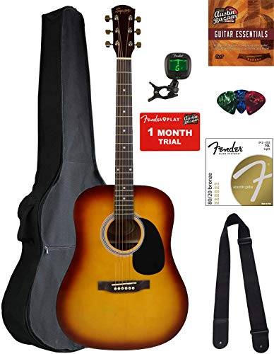 Fender Squier Dreadnought Acoustic Guitar – Sunburst Bundle with Gig Bag, Tuner, Strap, Strings, Picks, Austin Bazaar Instructional DVD, and Polishing Cloth