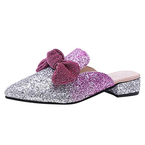 - Hunzed Women【Sequined Bow Sandals】Clearance Low-Heeled Casual Pointed Slippers (6 M US, Red)