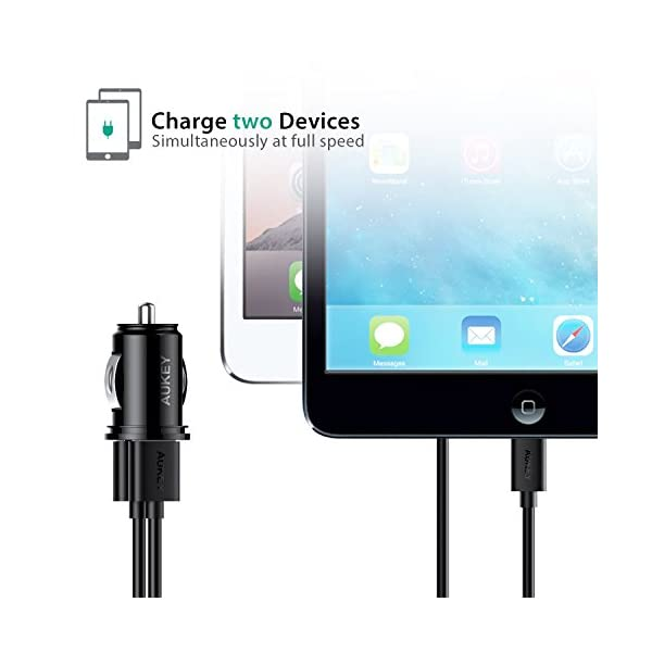 AUKEY Car Charger Flush Fit Dual Port 48A Output For IPhone X 8 7 Plus IPad Pro Air 2 Mini Samsung Galaxy Note8 S8 S8 And More Black