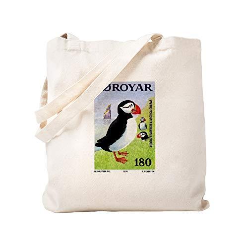 CafePress Vintage 1978 Faroe Islands Puffins Postage Stamp T Natural Canvas Tote Bag, Reusable Shopping Bag