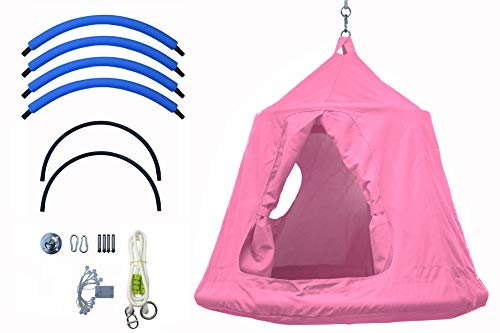 Outdoor Waterproof Backyard Play Center Hanging Tree House & Camping Hammock Tent Indoor Bedroom Swing Chair with Lamp String for Accommodating 2 Children - Pink (Hammock Chair Tent)