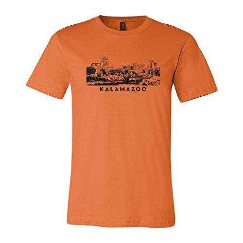 UGP Campus Apparel Kalamazoo Michigan City Scape Unisex Jersey T Shirt - Small - Burnt Orange (1 Kalamazoo)