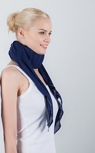 Neck Brace Cover, Smart Scarf Extremely Soft on The Skin - THE KOOCARE. Wear Your Cervical Collar with Comfort, Style and Discretion. Color :Blue Indigo in Silk & Micromodal. (Indigo Blue) ()