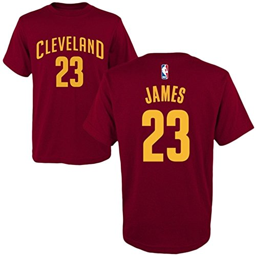 2ee90807 LeBron James Cleveland Cavaliers adidas Youth Game Time Flat Name & Number  T-Shirt - Wine