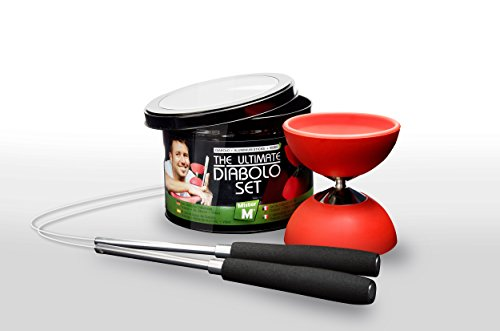 Diabolo + Aluminum Sticks + Free Online Video, All in a Tin Can - The Ulitmate Set (Medium Size - Red) by Mister M (Image #1)