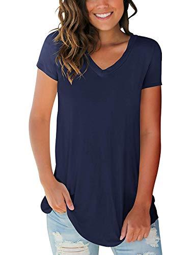 PARPERNA Women's V Neck Short Sleeve T Shirts Casual Summer Tops Blouses for Women Plus Size