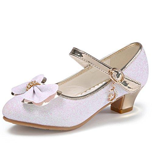 HBOS Kinder Mädchen Schuhe mit Absatz Prinzessin Schuhe Schmetterling Knoten Weiß 4
