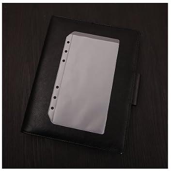 Chris-Wang- Archivador de hojas de plástico transparente con anillas para A4/A5/A6/A7/B5, para hojas sueltas o relleno de cuadernos (A4, 3 agujeros).