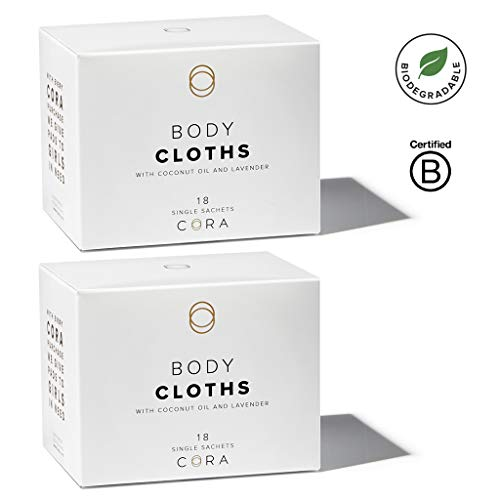 (Cora Bamboo Feminine Wipes with Plant-Based Moisturizers and Essential Oils (2 Boxes; 36 Count Total))