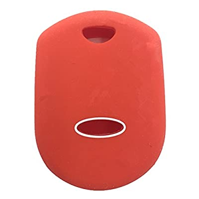 Ezzy Auto Red 4 Buttons Silicone Rubber Key Fob Case Key Cover Key Jacket Skin Protector fit for Ford: Automotive