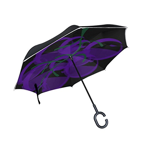 TIANYUSS Double Layer Inverted Grapes Fruit Wine Lilac Food Winery Umbrellas Reverse Folding Umbrella Windproof Uv Protection Big Straight Umbrella For Car Rain Outdoor With C-shaped ()