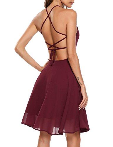 (Zeagoo Women Summer Halter Neck Sleeveless Mini Chiffon Casual Beach Dress, Wine Red, L)