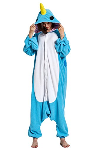 KING Fun Unisex Adult Pajamas One Piece Cosplay Narwhal Animal Costume Medium A18 -