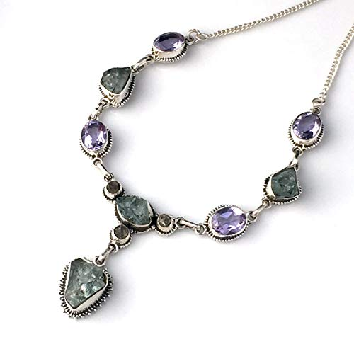 Gemstone Alexandrite Necklaces Pendants - Natural AQUAMARINE and Herkimer Diamond, Violet/Blue Created ALEXANDRITE Gemstones, 925 Sterling Silver, Pendant (3.7cm Long) Necklace Jewelry.