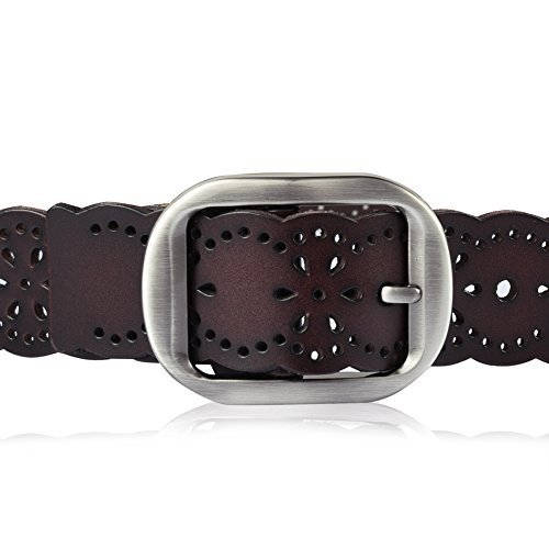 Vbiger Braided Women Belt Woven Belt Genuine Leather Brown and Black (Coffee)