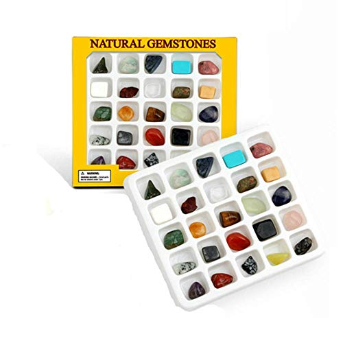 XX! Rock Collection Mineral Gem Kit (25 Pieces) , Educational Identification Sheet, Healing Chakra Gemstones, Tumbled Stones