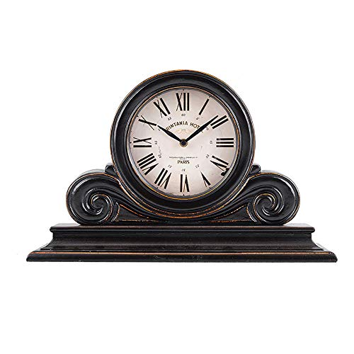 Retro American Vintage Clock - Greawei@ European Black Classic Wooden Vintage Mantel Clock American Retro Home Decoration Table Clock Silent Simplicity
