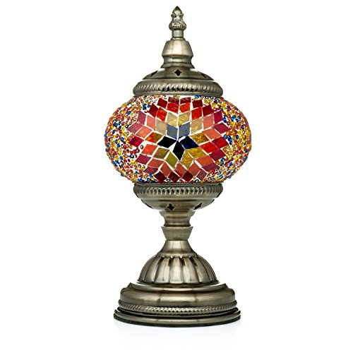 Handmade Turkish Glass Mosaic Table Lamp with Mosaic Lantern for Room Decoration Red