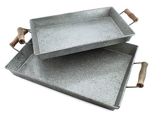 AuldHome Galvanized Farmhouse Trays (Set of 2); Farmhouse Decor Rectangular Trays with Handles (Trays Rectangular)