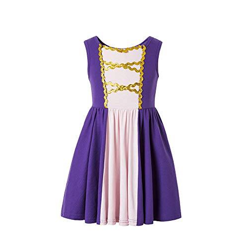 Rapunzel Princess Dress Moana Girls Adventure Cosplay Costume Rapunzel Costumer Purple Pink Dress Princess for Litter Girls (Purple, 6-7T) ()