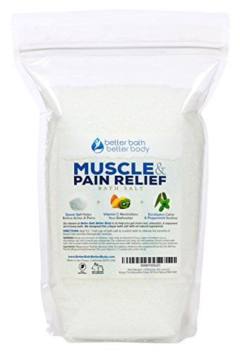 Muscle & Pain Relief Bath Salt 3-Lbs (48 Ounces) - Epsom Salt Bath Soak With Eucalyptus & Peppermint Essential Oil & Vitamin C - Natural No Perfume & Dyes - Relieve Aches & Joint Pains
