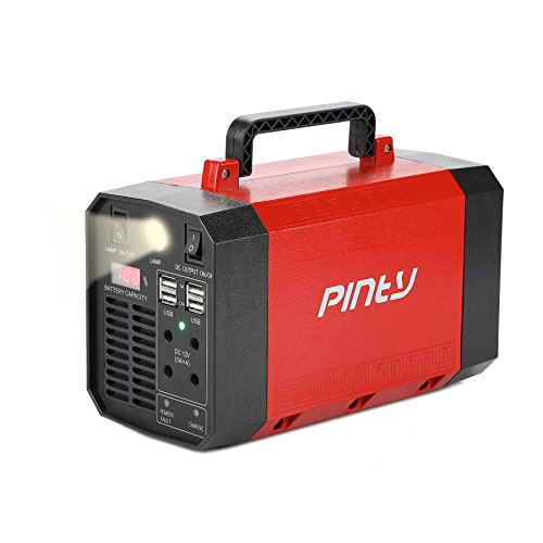 Pinty Portable Uninterrupted Power Supply 300W, UPS Battery Backup, Rechargeable Generator Power Source with AC Inverter, USB, DC 12V Outputs for Outdoors and Indoors (300W/200Wh/12V 18Ah)