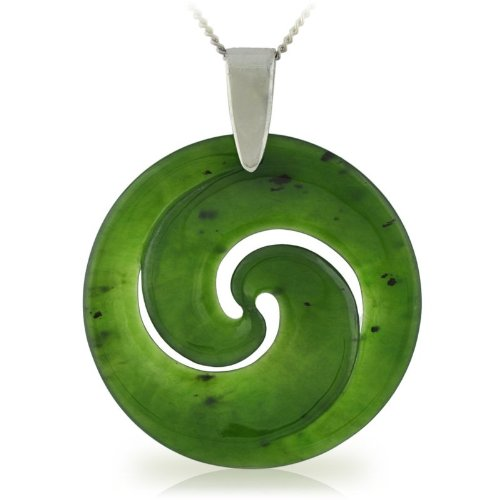 Silver Pendant with Green Jade 35mm