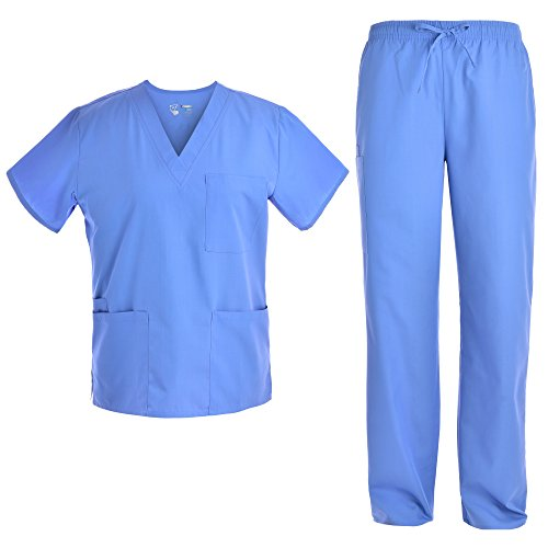 Unisex V Neck Scrubs Set Medical Uniform - Women and Man Nursing Scrubs Set Top and Pants Workwear JY1601 (CeilBlue, - Top Nursing Scrubs Unisex