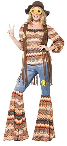 Smiffys Women's Harmony Hippie Costume, Top, Flares and Waistcoat, 70 Disco, Serious Fun, Plus Size 18-20, 43856