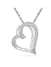 Sterling Silver White Round Diamond Heart Pendant (0.03 cttw)
