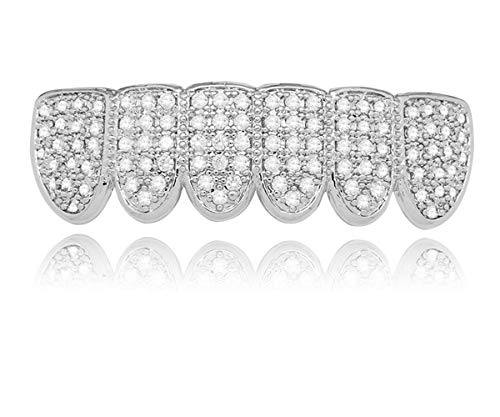 LuReen 14k Gold Silver Pave Full CZ Grillz 6 Top and Bottom Hip Hop Teeth Sets (Silver Bottom)