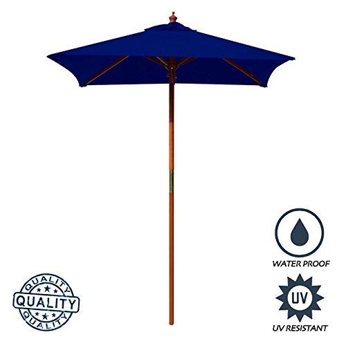 (Above All Advertising, Inc. AAA Best 4 Feet Brolliz Square Wood Market Umbrella - Outdoor Garden Patio Umbrella (Blue))