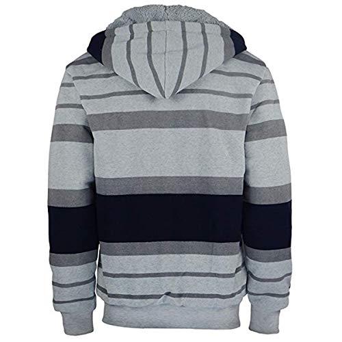 7e6f98ee672a Amazon.com  Leehanton Men s Stripe Zip Up Heavy Blend Sherpa-Lined Hoodie  Sweatshirt  Clothing