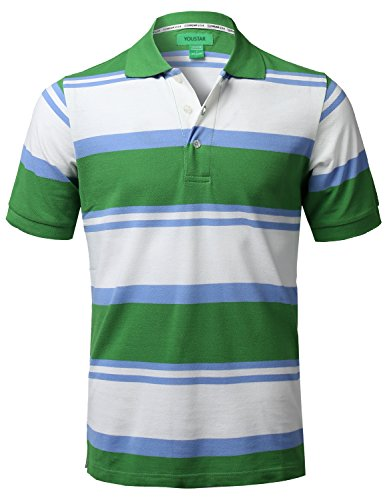 Youstar Basic Casual Short Sleeves Stripe 3 Button Placket Polo Shirt Green Size XL - Mens Basic Stripe Polo