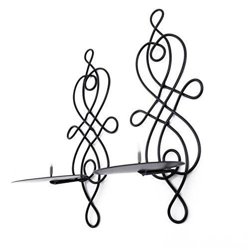 modern art candle holder wall sconce black wire metal