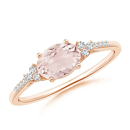Horizontally Set Oval Morganite Solitaire Ring with Trio Diamond Accents in 14K Rose Gold (7x5mm - Solitaire Diamond Ring Accents Gold