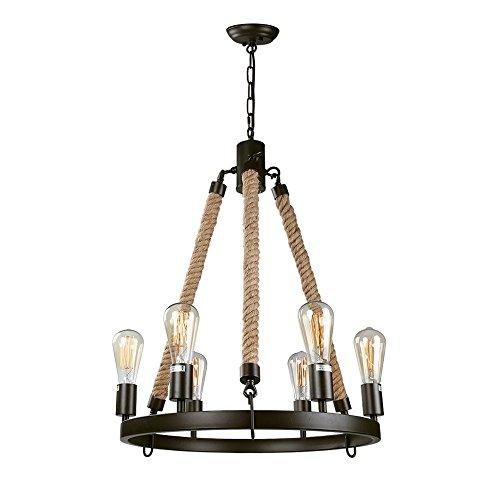 LNC Vintage Chandeliers, 6-Light Metal Rope Rustic Pendant Lighting for Kitchen, Dining Room, Living Room